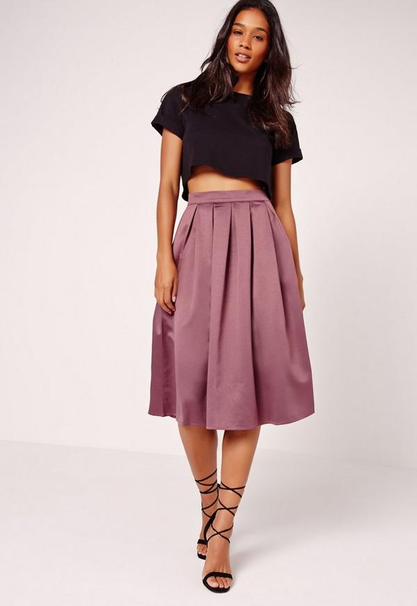 Satin Pleat Waistband Full Midi Skirt Purple - Missguided