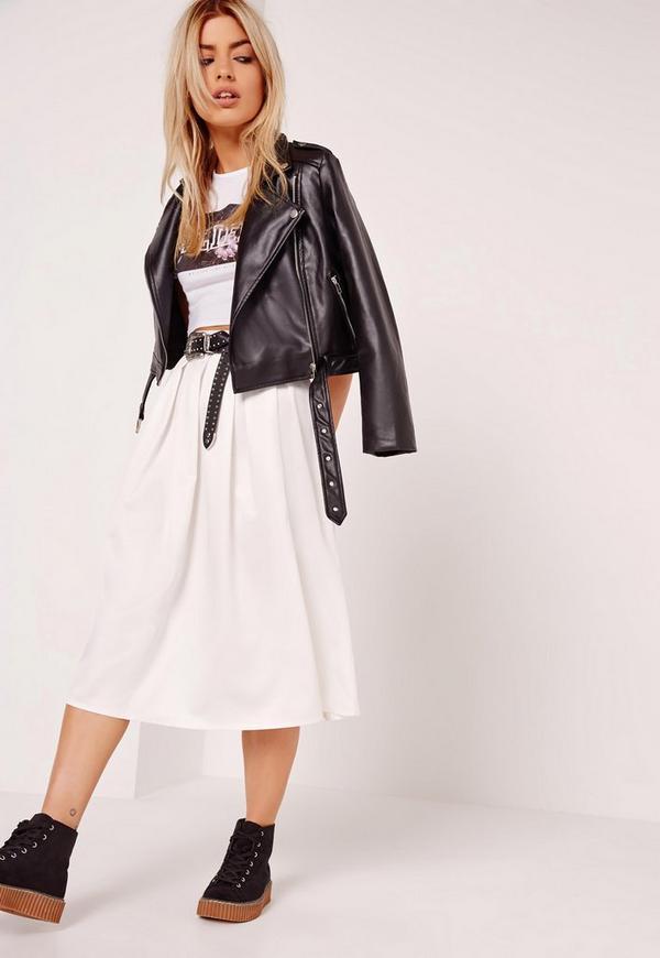 Satin Pleat Waistband Full Midi Skirt White