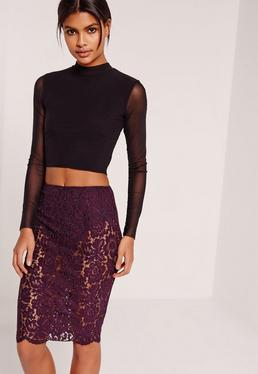 Lace Midi Skirt With Knickers Purple