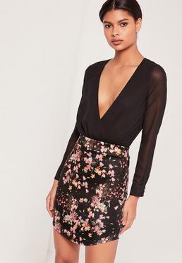 Curve Hem Floral Scuba Mini Skirt Black