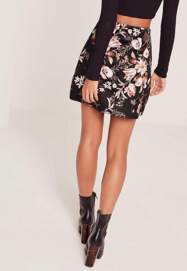 Floral Print Scuba A Line Skirt Black