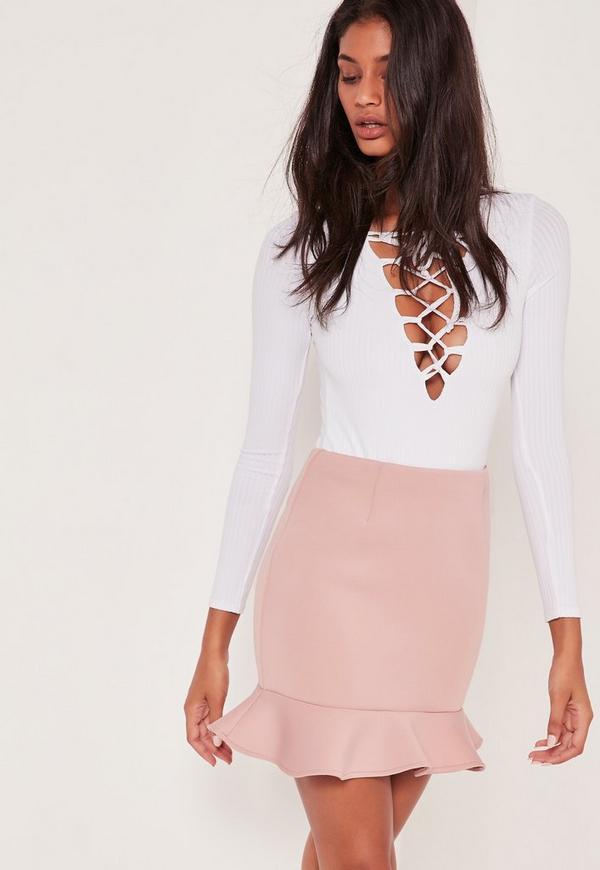 Frill Hem Scuba Mini Skirt Pink