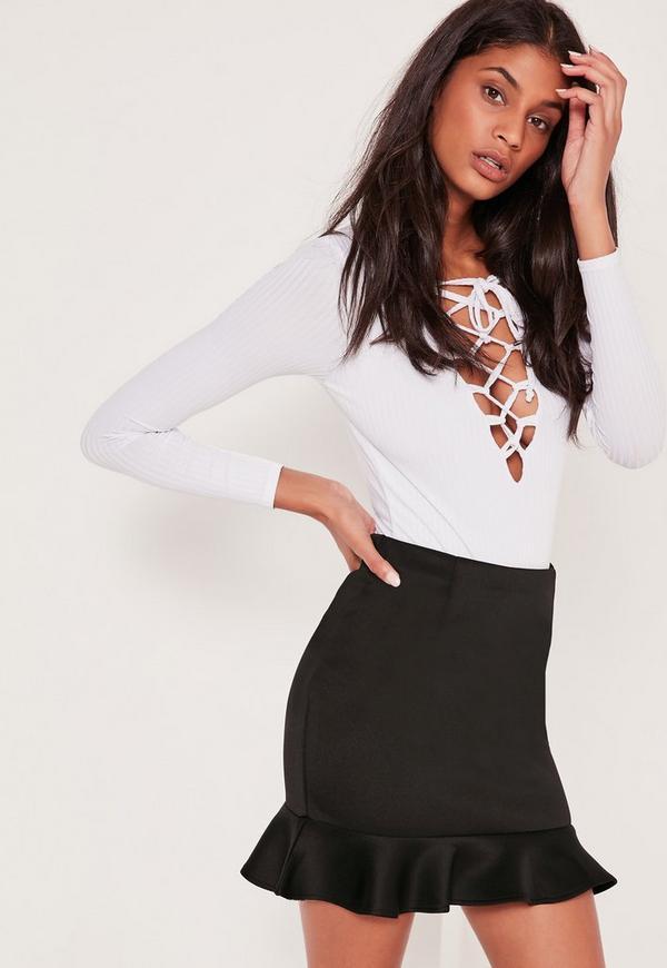 Frill Hem Scuba Mini Skirt Black
