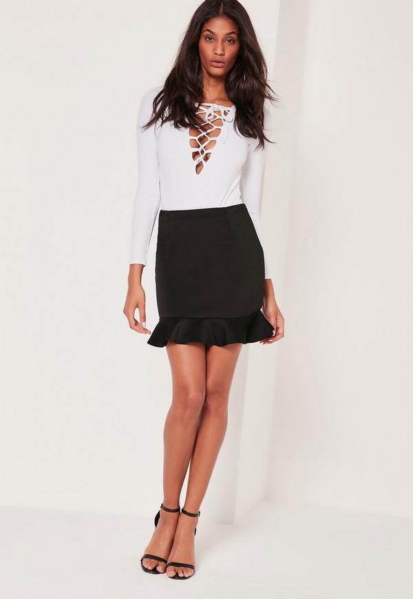 Frill Hem Scuba Mini Skirt Black | Missguided