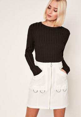 White Zip Through Ring Detail Crepe Skirt