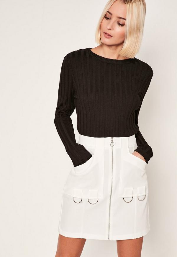 White Zip Through Ring Detail Crepe Skirt