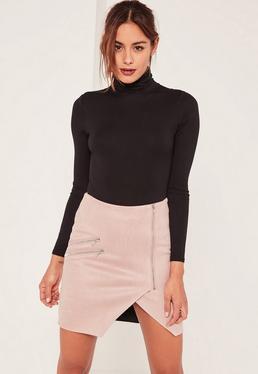 Pink Faux Suede Zip Detail Asymmetric Skirt