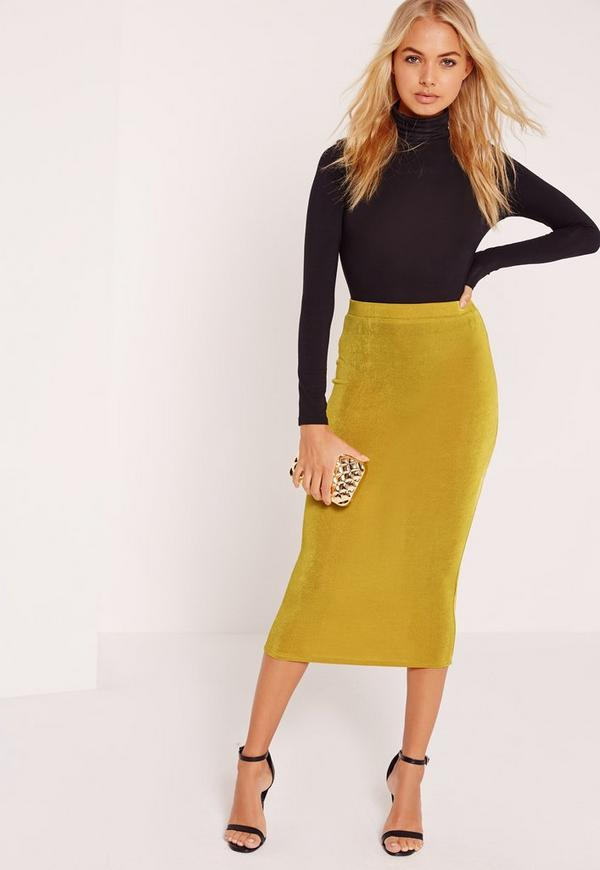 Textured Slinky Midi Skirt Chartreuse Green