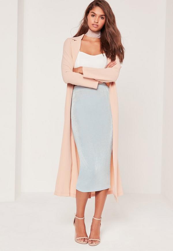 Textured Slinky Midi Skirt Blue
