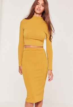 Ribbed Mini Skirt Yellow
