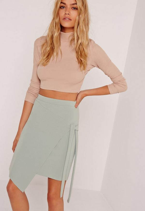 Crepe Tie Front Wrap Mini Skirt Green