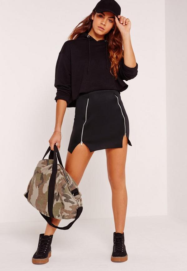 Double Zip Front Scuba Mini Skirt Black