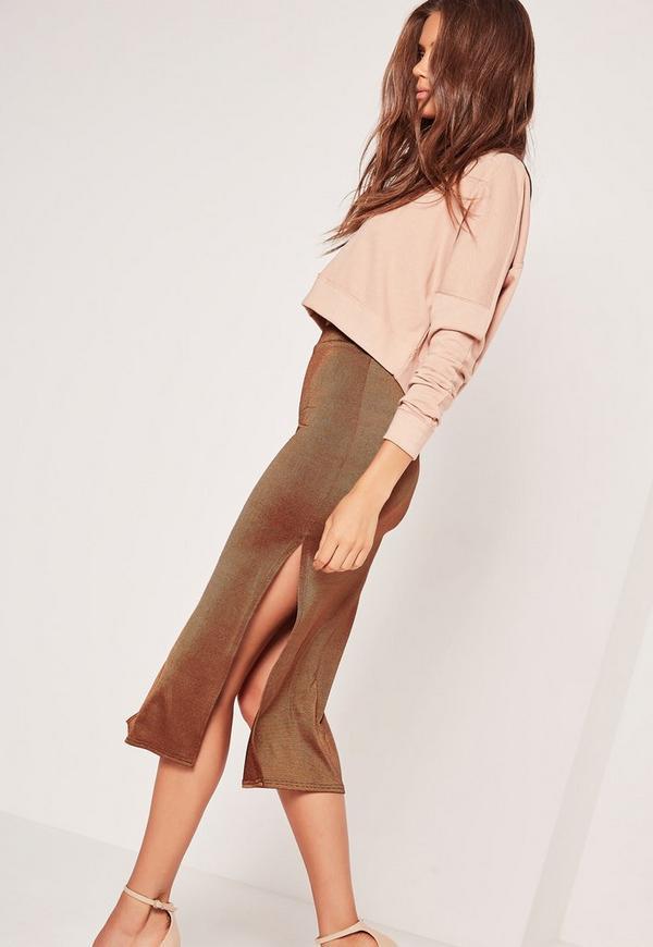 Double Split Slinky Midi Skirt Bronze