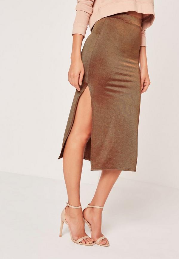 split slinky midi skirt bronze missguided