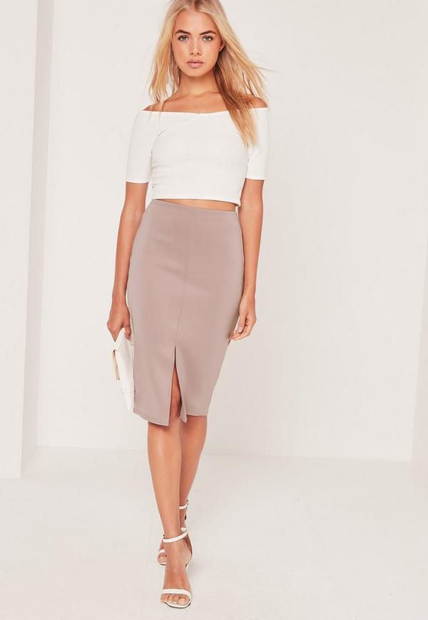 Scuba Split Front Midi Skirt Lilac