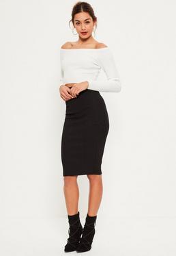 Black Bandage Bodycon Midi Skirt