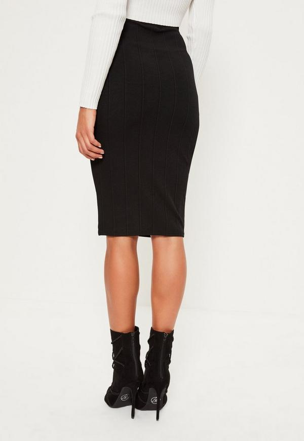 black bandage bodycon midi skirt missguided