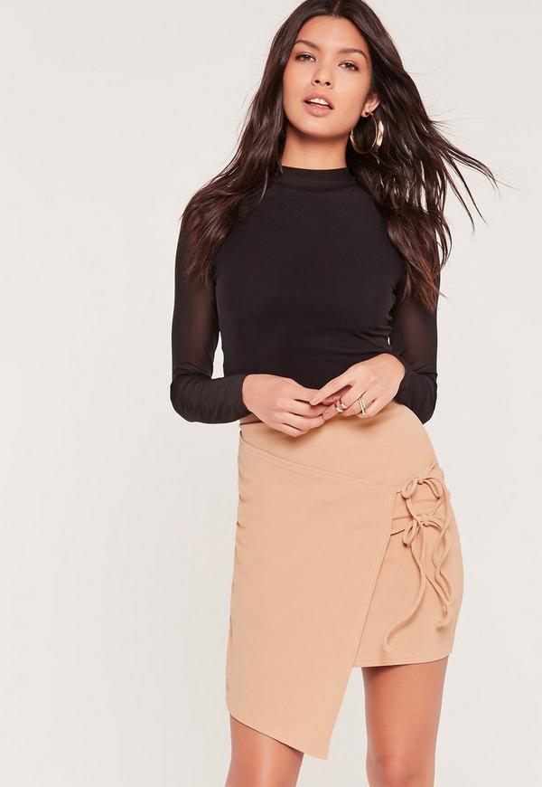 Double Tie Side Wrap Asymmetric Mini Skirt Nude