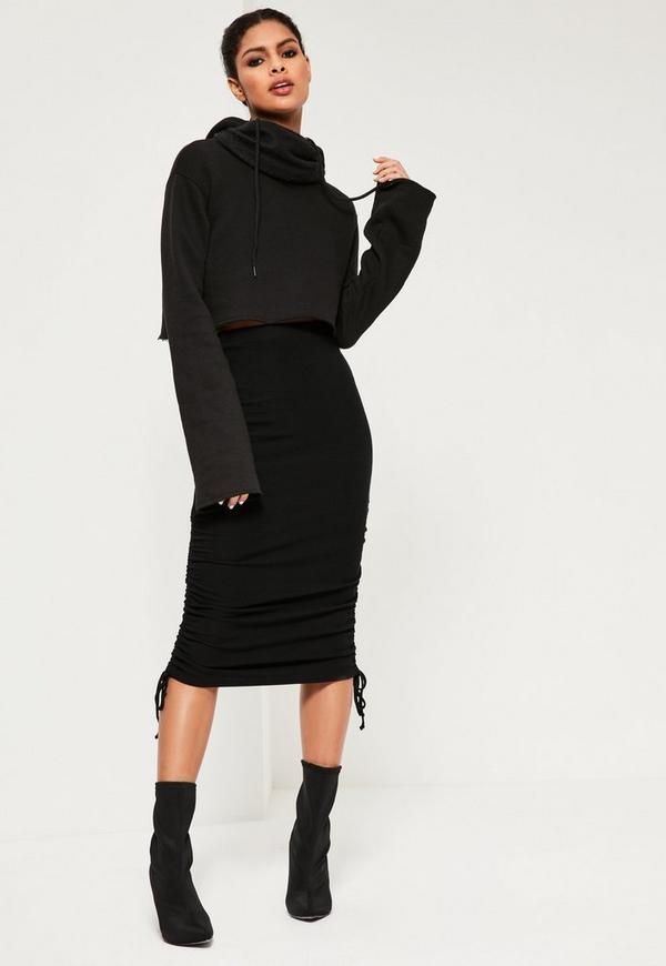 Jersey Rib Ruched Side Midi Skirt Black