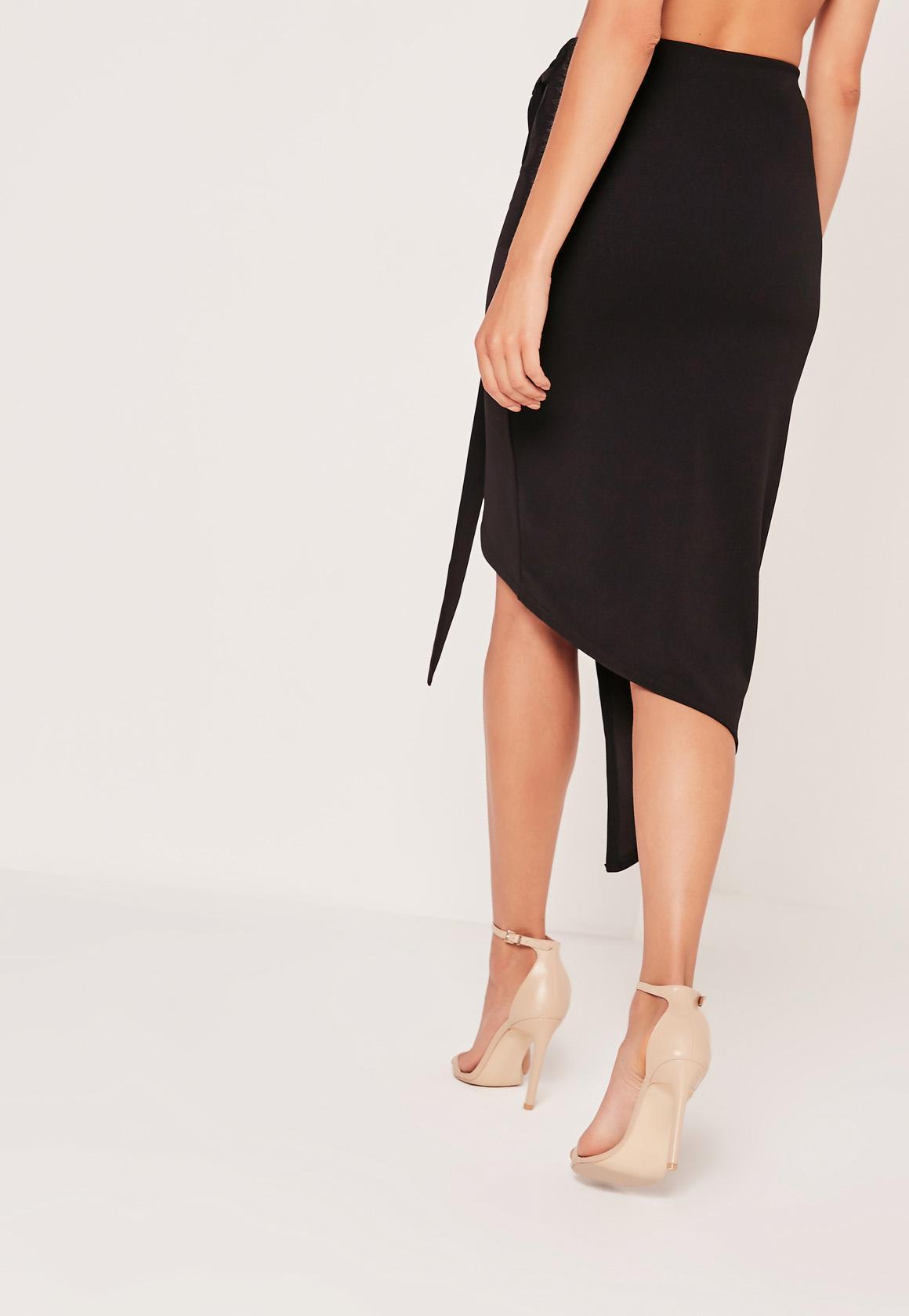Asymmetric Textured Ponte Midi Skirt Black