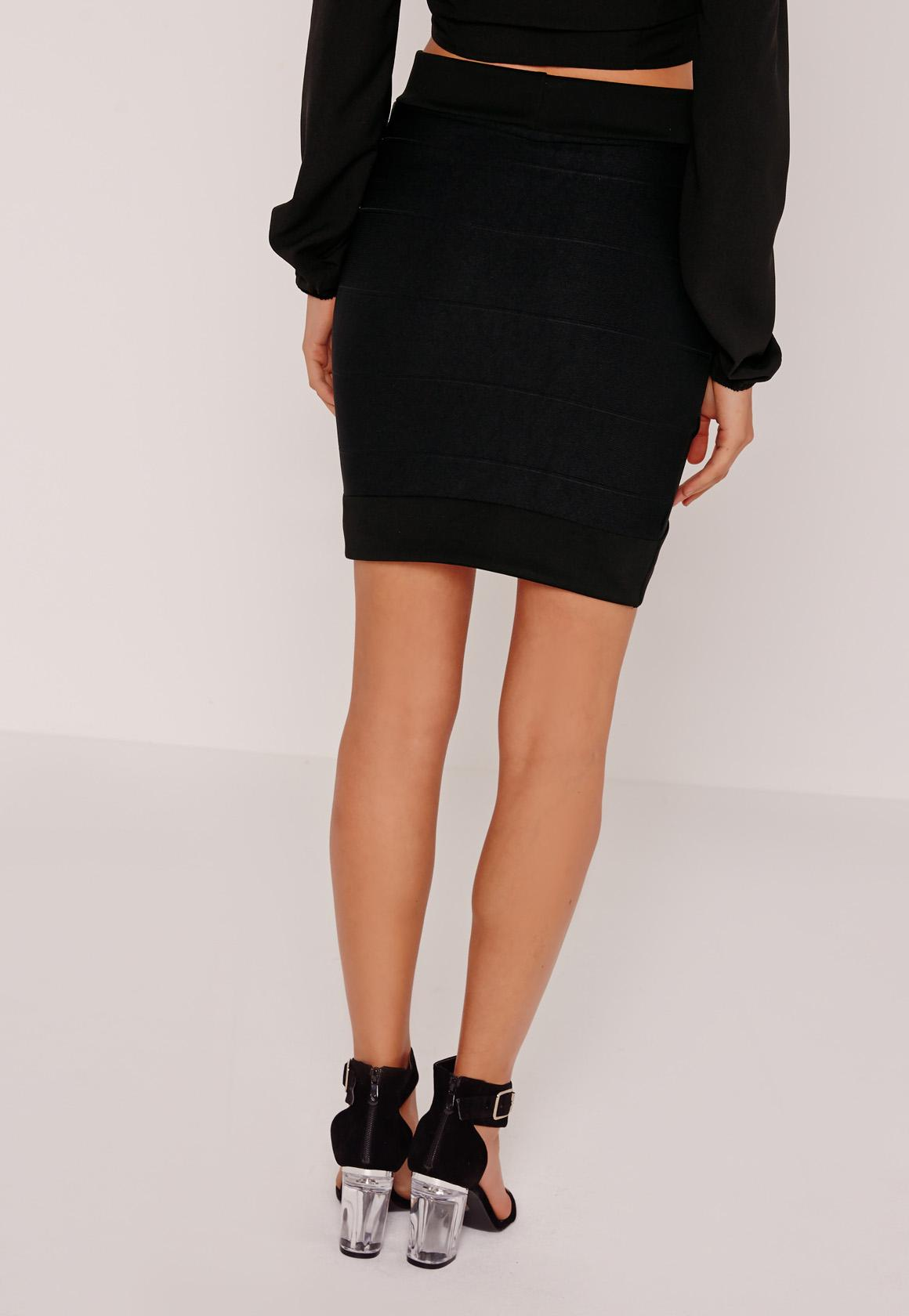 Bandage Bodycon Asymmetric Mini Skirt Black