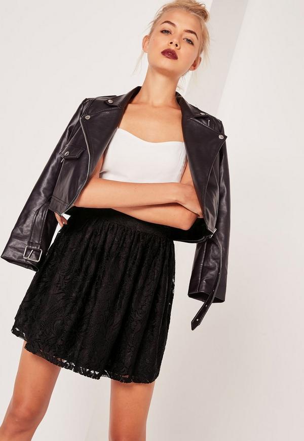 Lace Full Mini Skirt Black