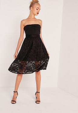 Full Lace Midi Skirt Black