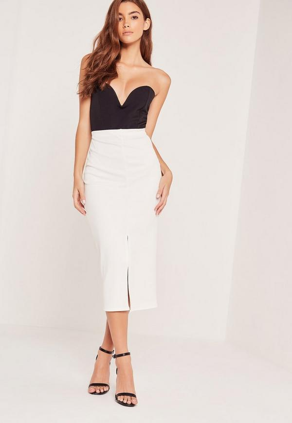 Textured Split Front Midi Skirt White