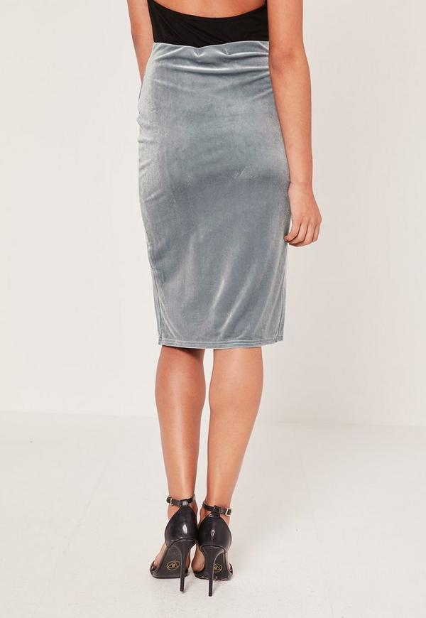 Velvet Split Front Midi Skirt Grey | Missguided