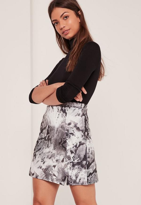 Double Split Front Reptile Printed Scuba Skirt Multi