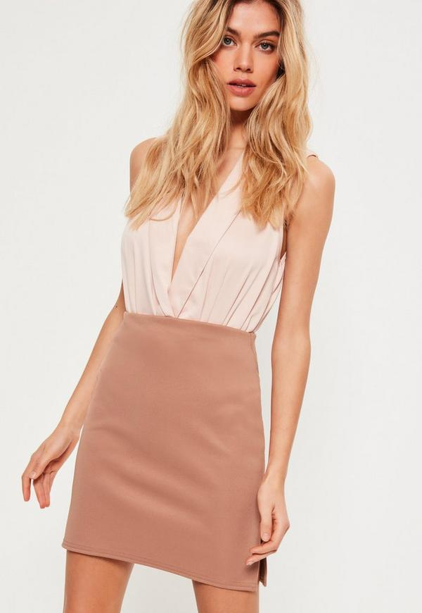 Double Split Side A Line Mini Skirt Nude