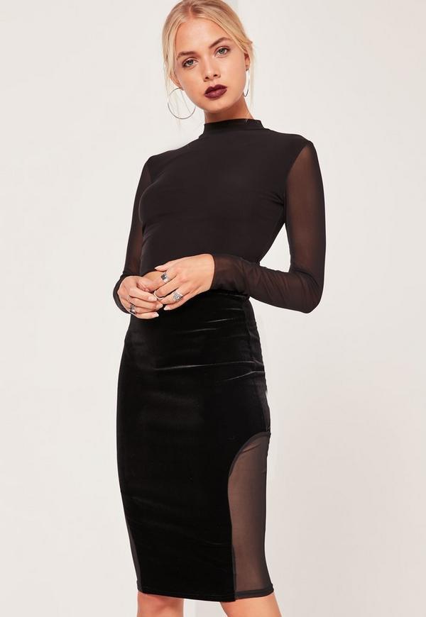 Velvet Mesh Insert Midi Skirt Black