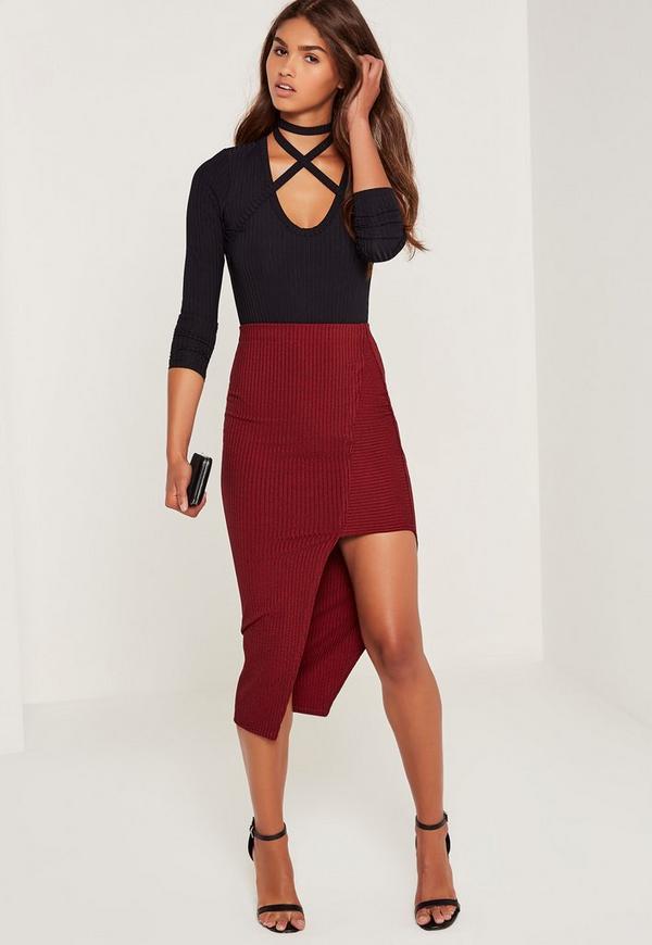 Ribbed Asymmetric Midi Skirt Red