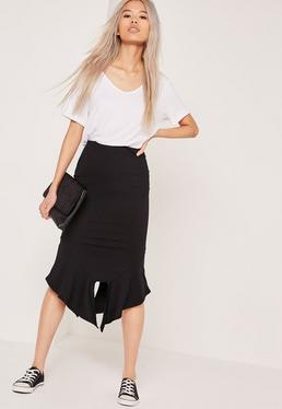Ribbed Frill Hem Midi Skirt Black