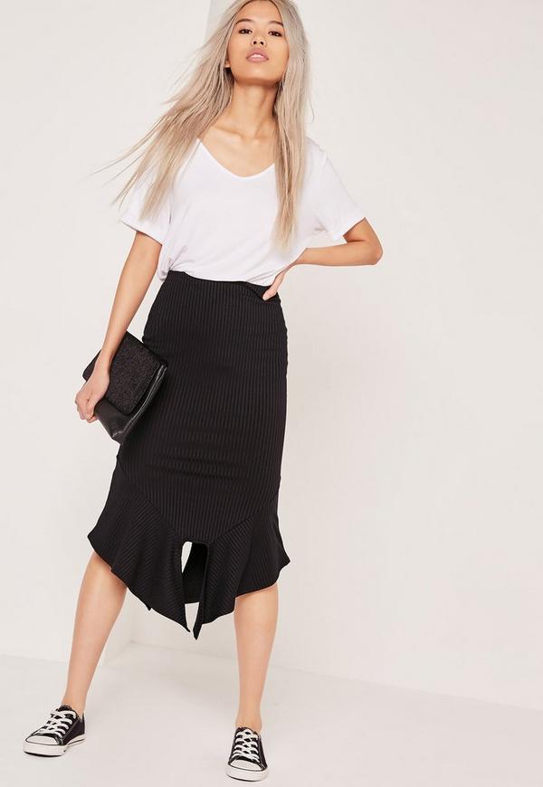 Ribbed Frill Hem Midi Skirt Black