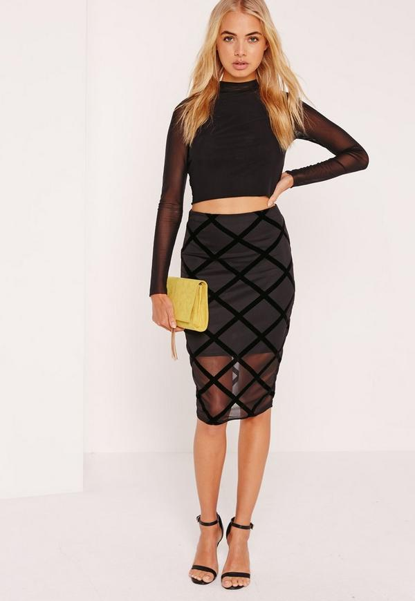 Flocked Grid Pattern Midi Skirt Black