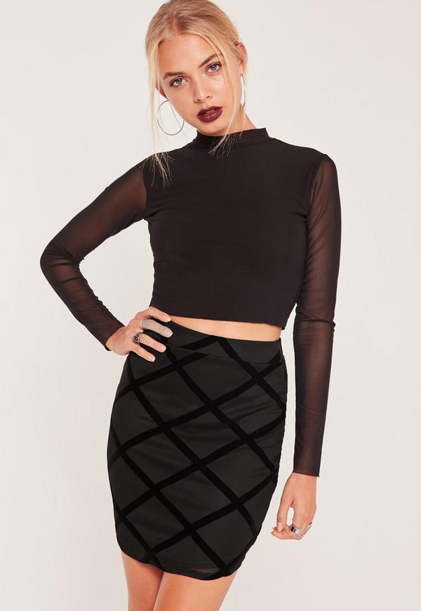 Flocked Grid Pattern Mini Skirt Black