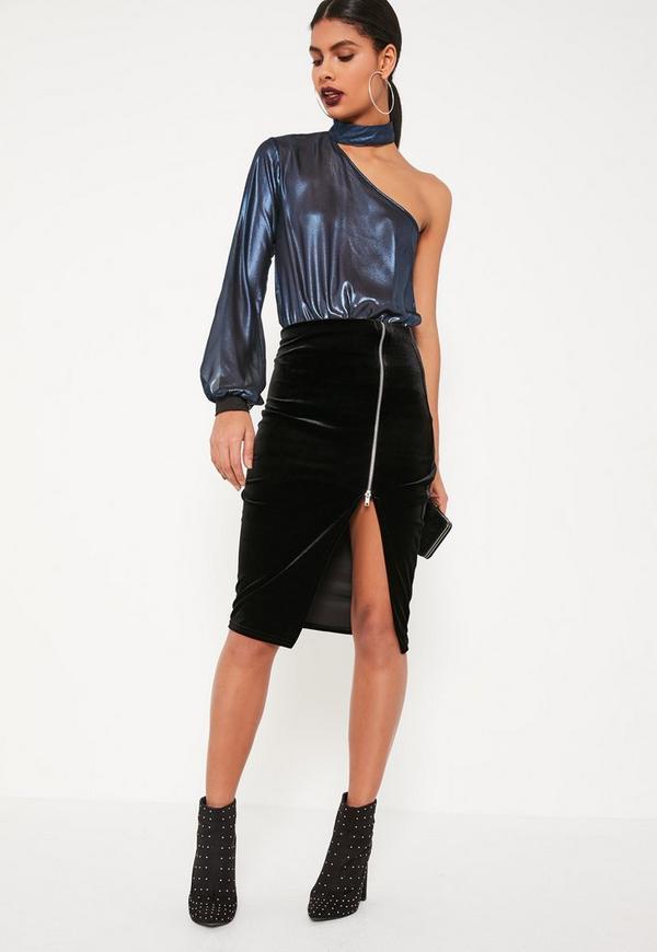 Black Velvet Zip Through Midi Skirt