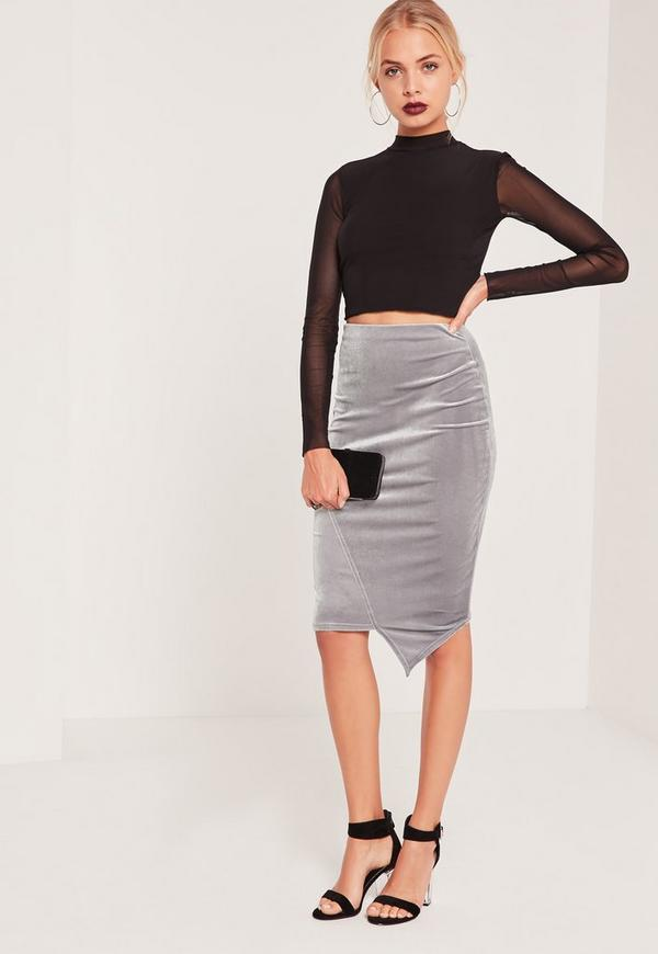 Velvet Asymmetric Midi Skirt Grey