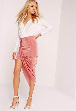 Slinky Drape Asymmetric Skirt Pink