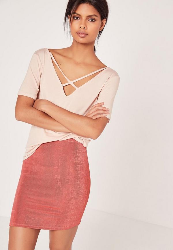 Textured Slinky Mini Skirt Dark Pink