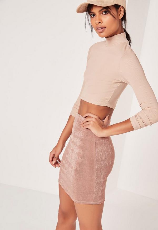 Textured Slinky Mini Skirt Mauve