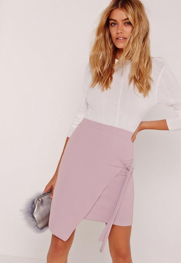 Crepe Tie Front Wrap Mini Skirt Purple