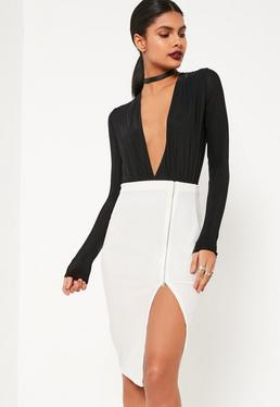 White Velvet Zip Through Midi Skirt