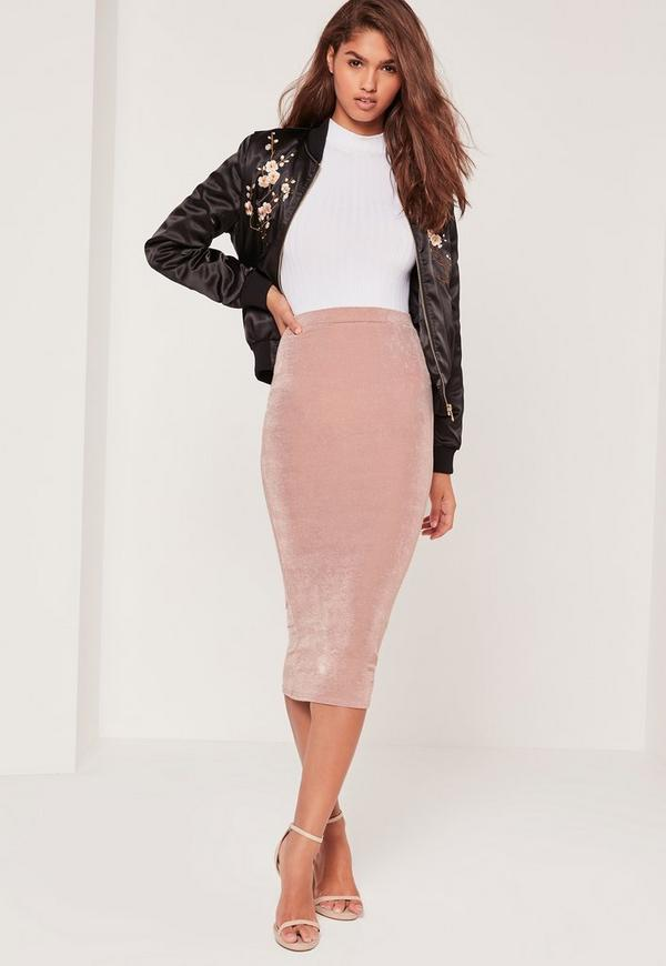 Textured Slinky Midi Skirt Pink