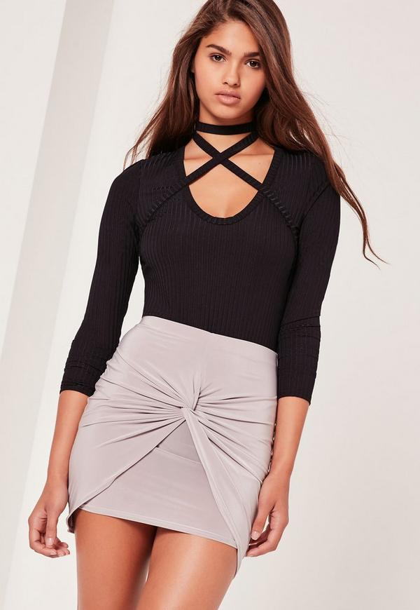 Slinky Knot Front Mini Skirt Silver