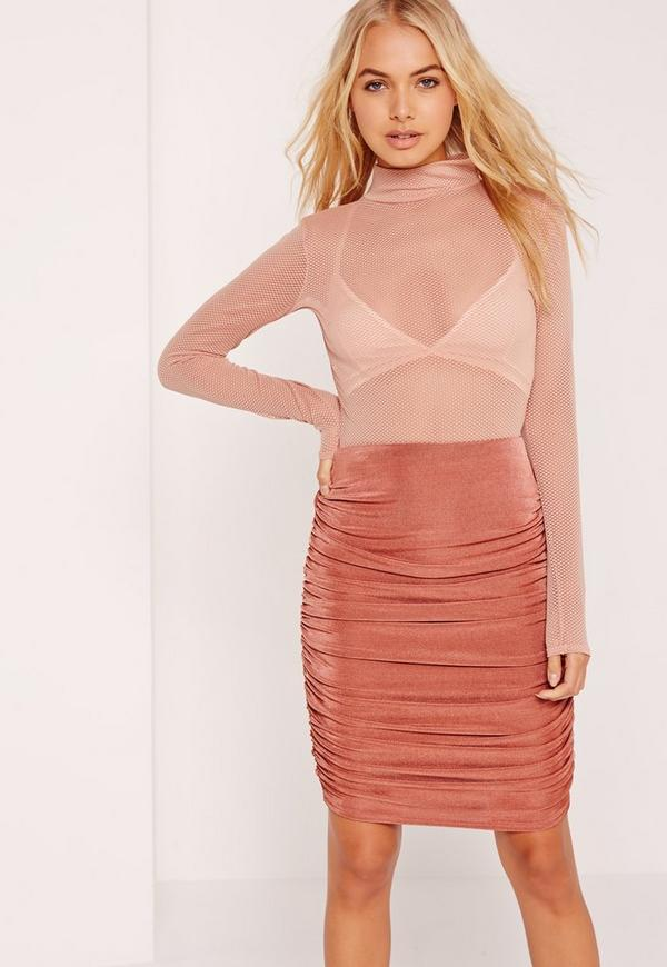 Textured Slinky Ruched Side Midi Skirt Pink