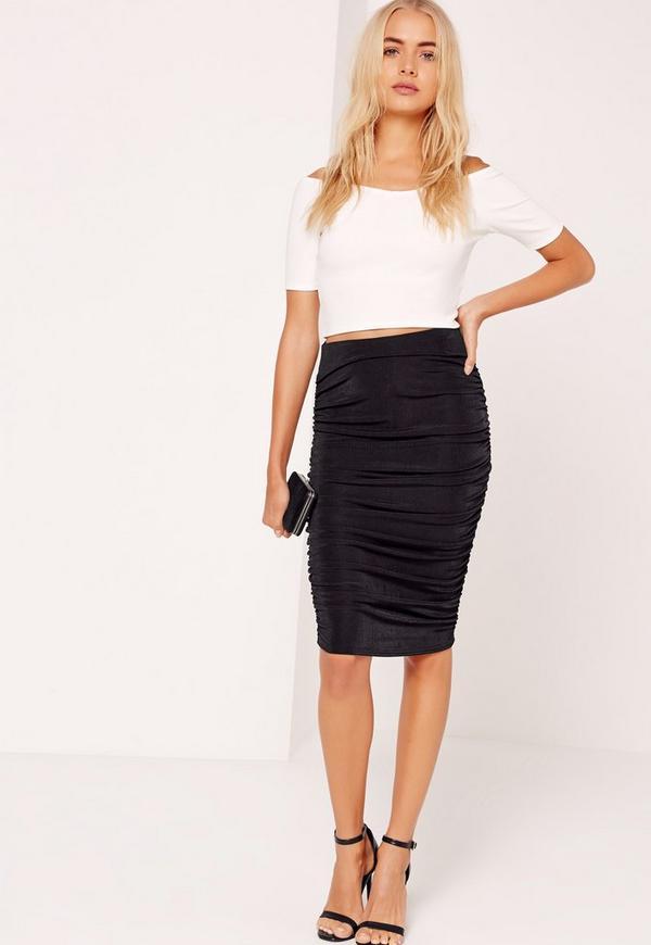 Textured Slinky Ruched Side Midi Skirt Black