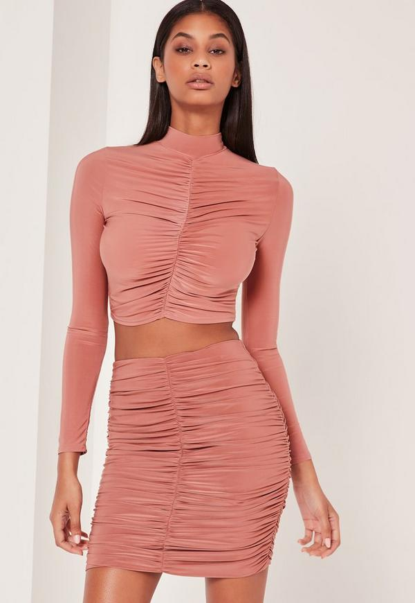 Pink Ruched Front Slinky Mini Skirt