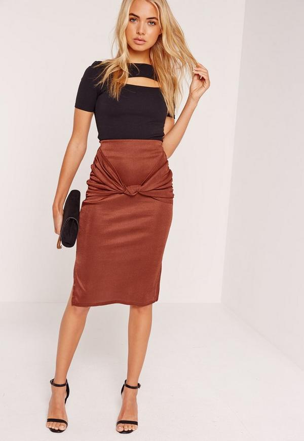 Knot Front Midi Skirt Orange